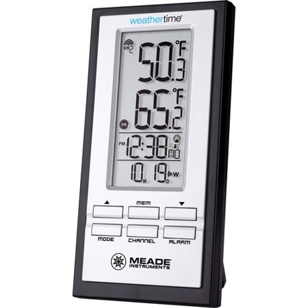 Meade TE278W Wireless Indoor/Outdoor Thermometer with Atomic Clock ...