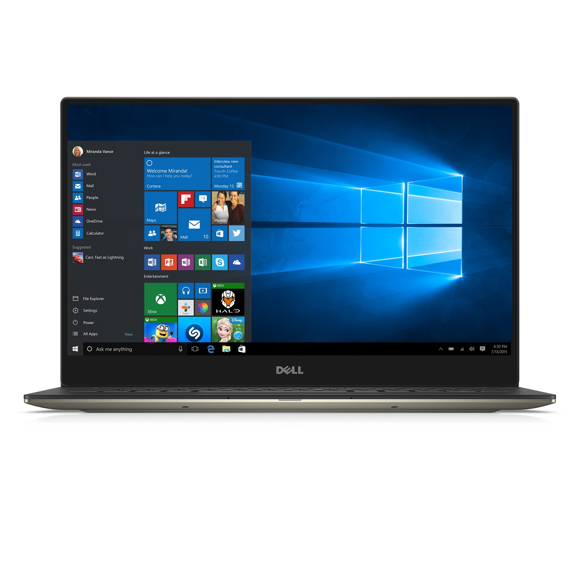 Refurbished Dell XPS 13 XPS9350-5342GLD 13.3-Inch QHD+ Touchscreen Laptop (6th Generation Intel Core i7, 8 GB RAM, 256 GB SSD, Win 10, Microsoft Signature Image), Gold