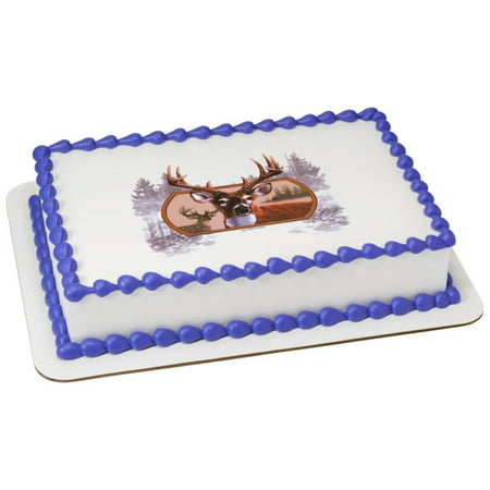 Admirable 1 4 Sheet Cake Deer Hunting Birthday Edible Cake Or Cupcake Personalised Birthday Cards Veneteletsinfo