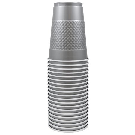 Silver Plastic Cups (JAM Plastic Cups, 16 oz, Silver,)