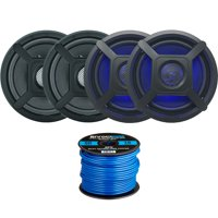 "4 x Jensen Marine MS650 6.5"" Waterpoof Coaxial Speakers - 4 x 6.5"" Removable Marine Audio Grilles (Black) - 2 x Blue/White LED Light Kit for Grilles - 50Ft. 16-Gauge Speaker Wire"