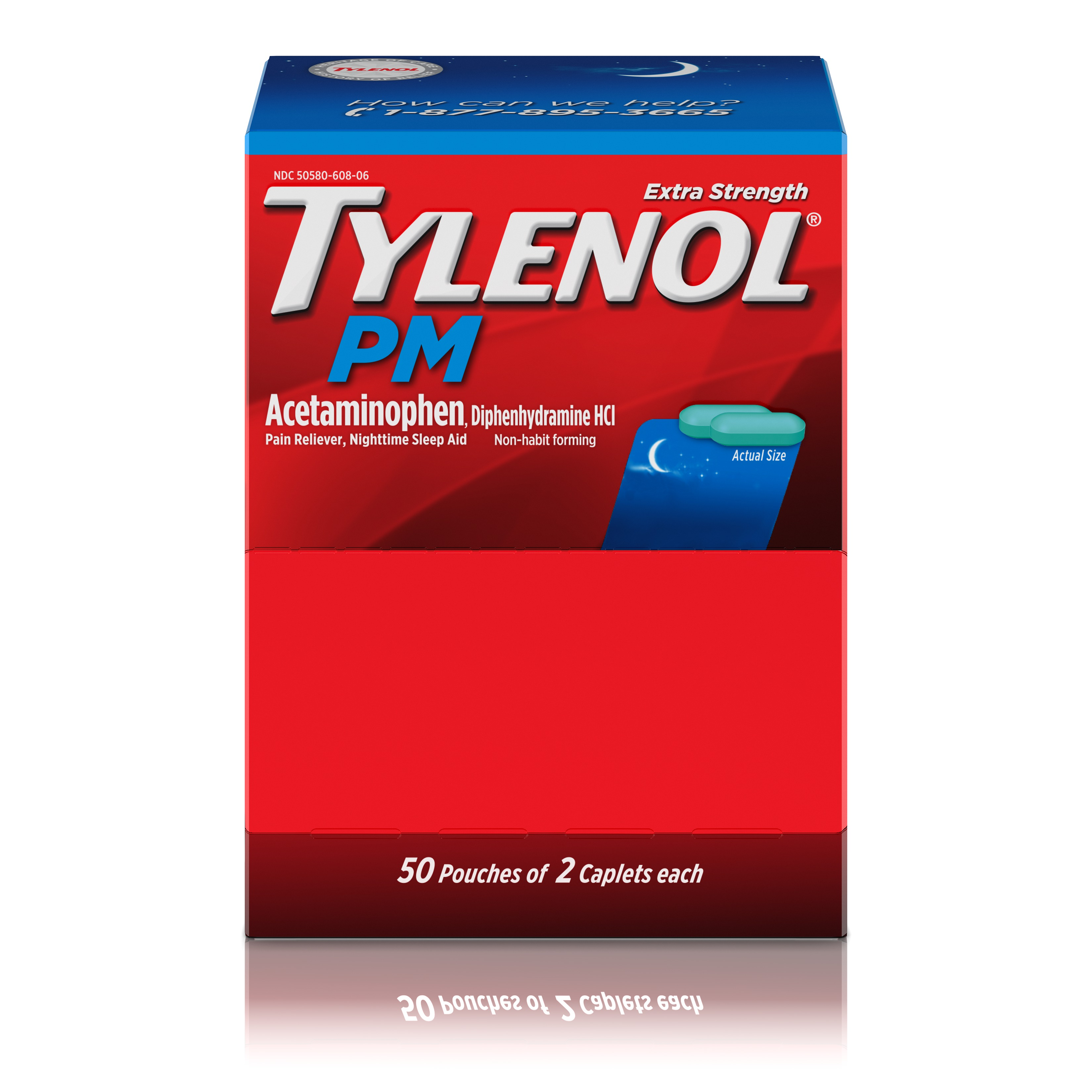 Tylenol PM Extra Strength Pain Relief & Sleep Aid Caplets, 50 of 2 ct