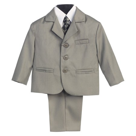 Little Boys Gray Special Occasion Wedding Easter 5pc Suit Set 12M-14