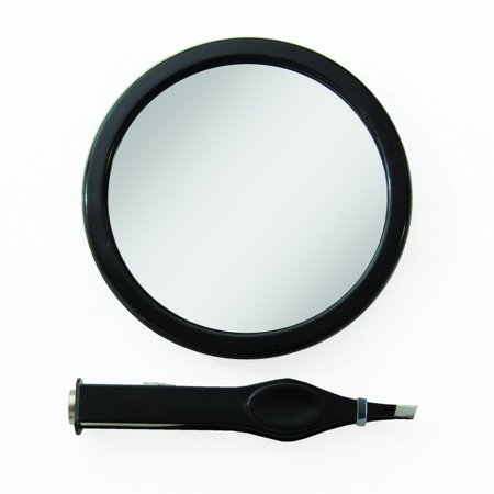 E Z Grip Spot Mirror 12x Magnification Lighted Tweezers Black Magnify Perfect Hands Free