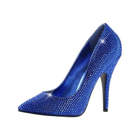 Womens Royal Blue Pumps Pointed Toe Rhinestone Shoes Satin Dressy 5 Inch Heels