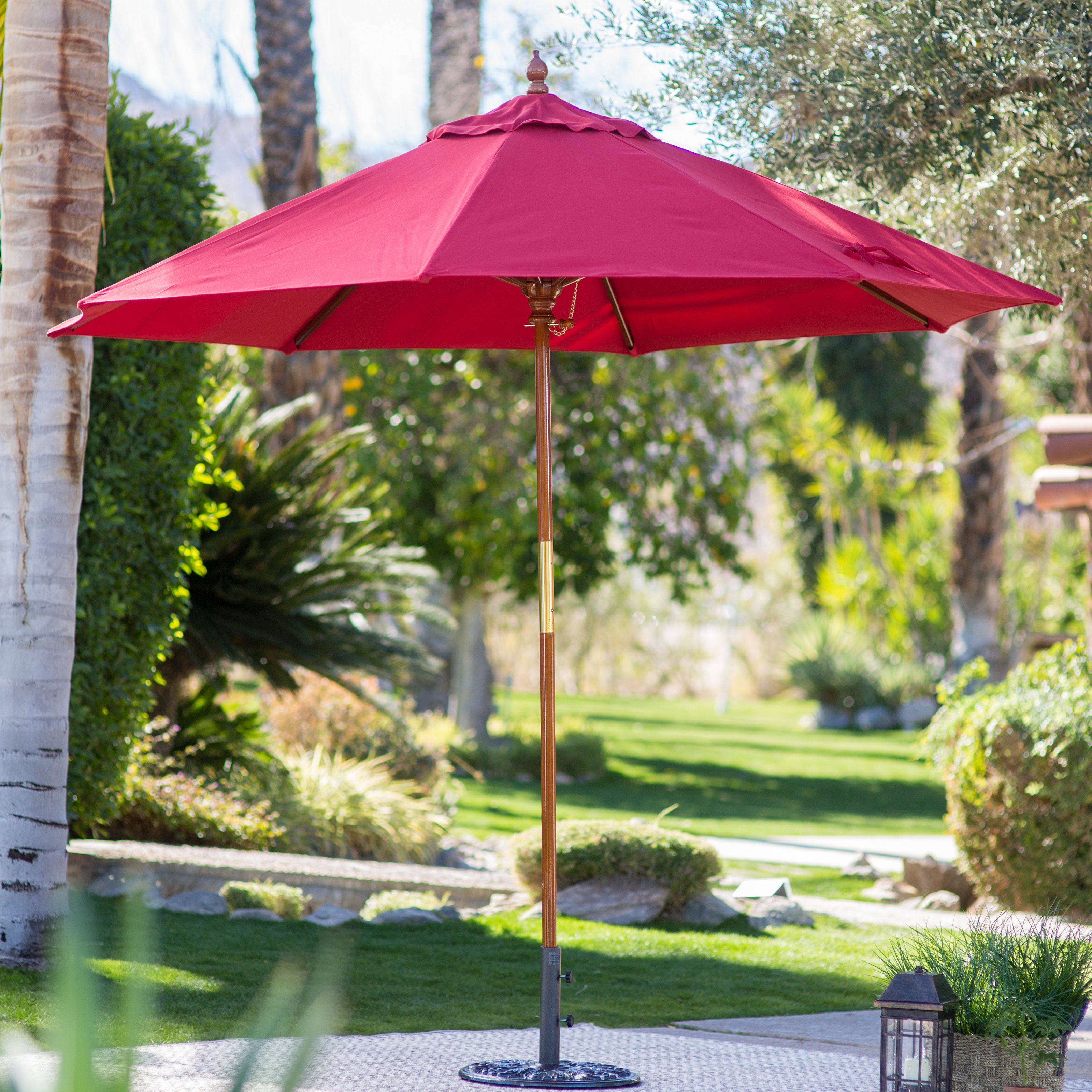 Belham Living 9 ft. Wood Commercial-Grade Sunbrella Market Umbrella