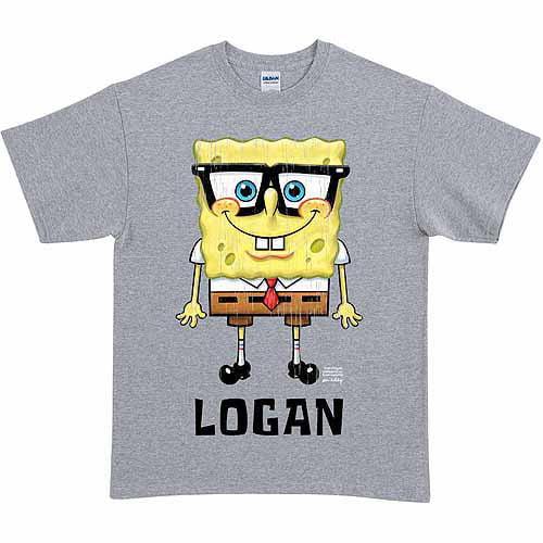 Personalized SpongeBob SquarePants Glasses Adult T-Shirt, Gray