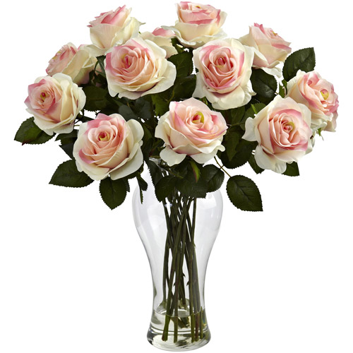 Nearly Natural Blooming Roses with Vase, Light Pink