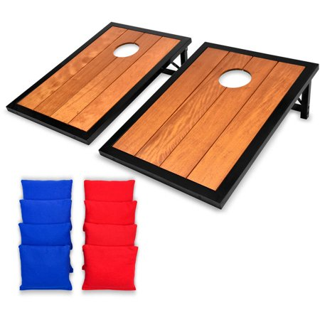 GoSports Premium Hardwood Cornhole Toss Set with Powder Coated Frame, 8 Bean Bags, 3' x 2' Tailgate Size Boards