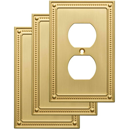 Franklin Brass Classic Beaded Single Duplex Wall Plate in Brushed Brass, (Double Duplex Solid Brass)
