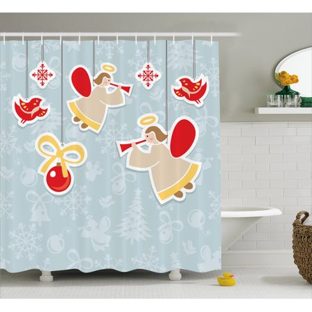 Angel Shower Curtain, Fairy Playing Trumpet Halo Spiritual Wings with Xmas Birds Balls Celebration, Fabric Bathroom Set with Hooks, 69W X 70L Inches, Red Beige Blue Grey, by Ambesonne (Angel Wings And Halo Set)