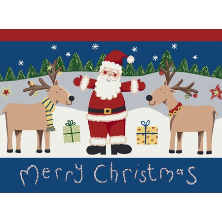 Milliken Seasonal Inspirations Area Rugs - Novelty 00022 Kringle Reindeer Santa Claus Gifts Christmas Rug
