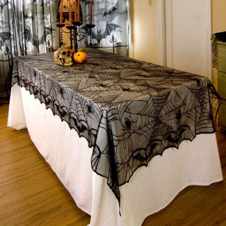 Classic Design Lace Black Spider Wed Party Decorative Tablecloth For Halloween,black - Black Lace Halloween Tablecloth