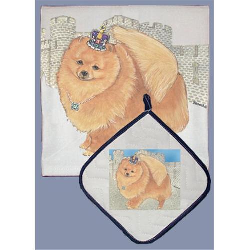 Pipsqueak Productions DP914 Dish Towel and Pot Holder Set - Pomeranian