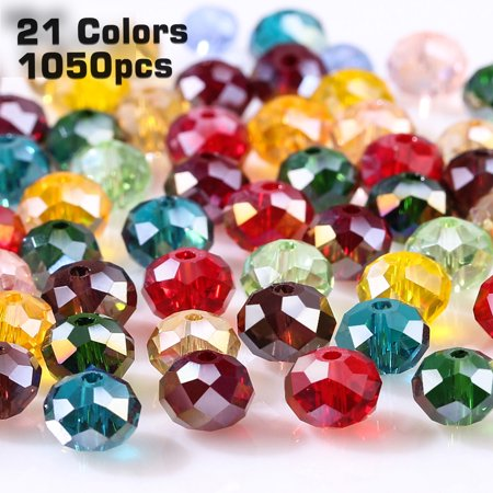EEEKit 1050pcs Glass Beads - Wholesale 6mm Briolette Shaped Crystal Faceted Beads Jewelry Making Supply for DIY Beading Projects, Bracelets, Necklaces, Earrings & Other Jewelries (21Colors) Glass 6mm Heart Beads