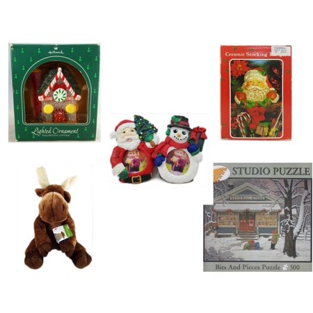 Christmas Fun Gift Bundle [5 Piece] - Hallmark Sugarplum Cottage Lighted Ornament QLX7011 - Vintage Designed Stocking Hanger Santa - Santa & Snowman Photo Holders 1.5