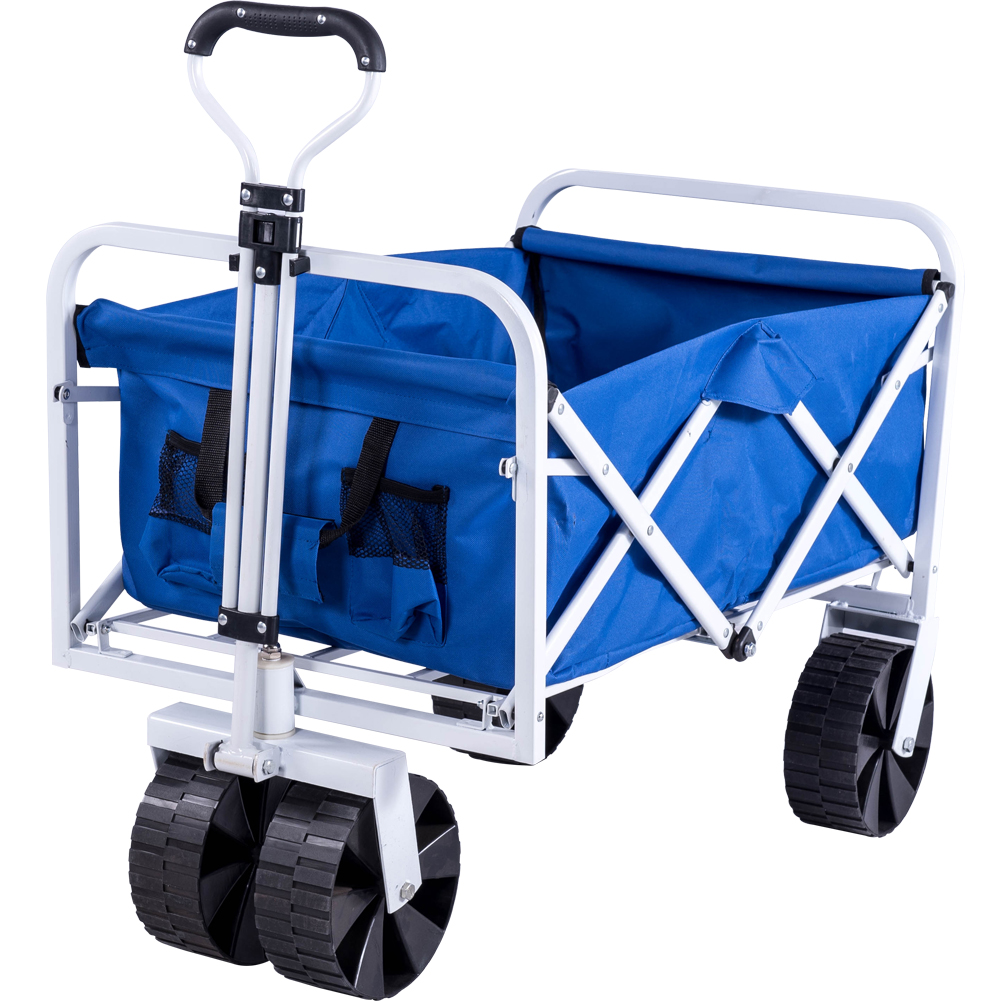 Serenita Collapsible Garden Cart Folding Utility Wagon With Large Wheel,  Blue