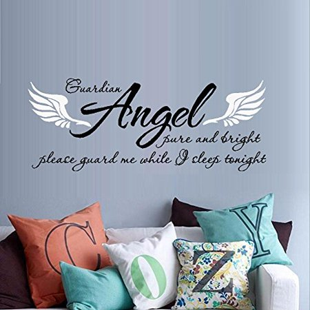 - Decal ~ Guardian Angel pure and bright, Guard me while I sleep tonight #2: Wall Decal, Children Decor  13