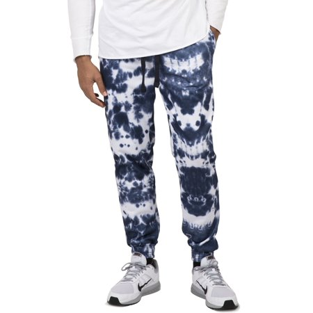 Vibes Men's Fleece Jogger Sweatpants Spotted Tie Dye Printed Elastic (Best G Spot Vibe)