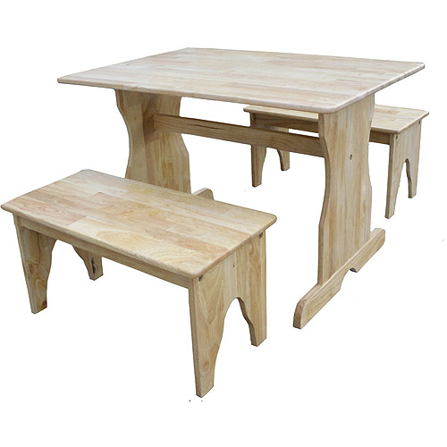 International Concepts Kids' Play Table with 2 Benches, Multiple Finishes