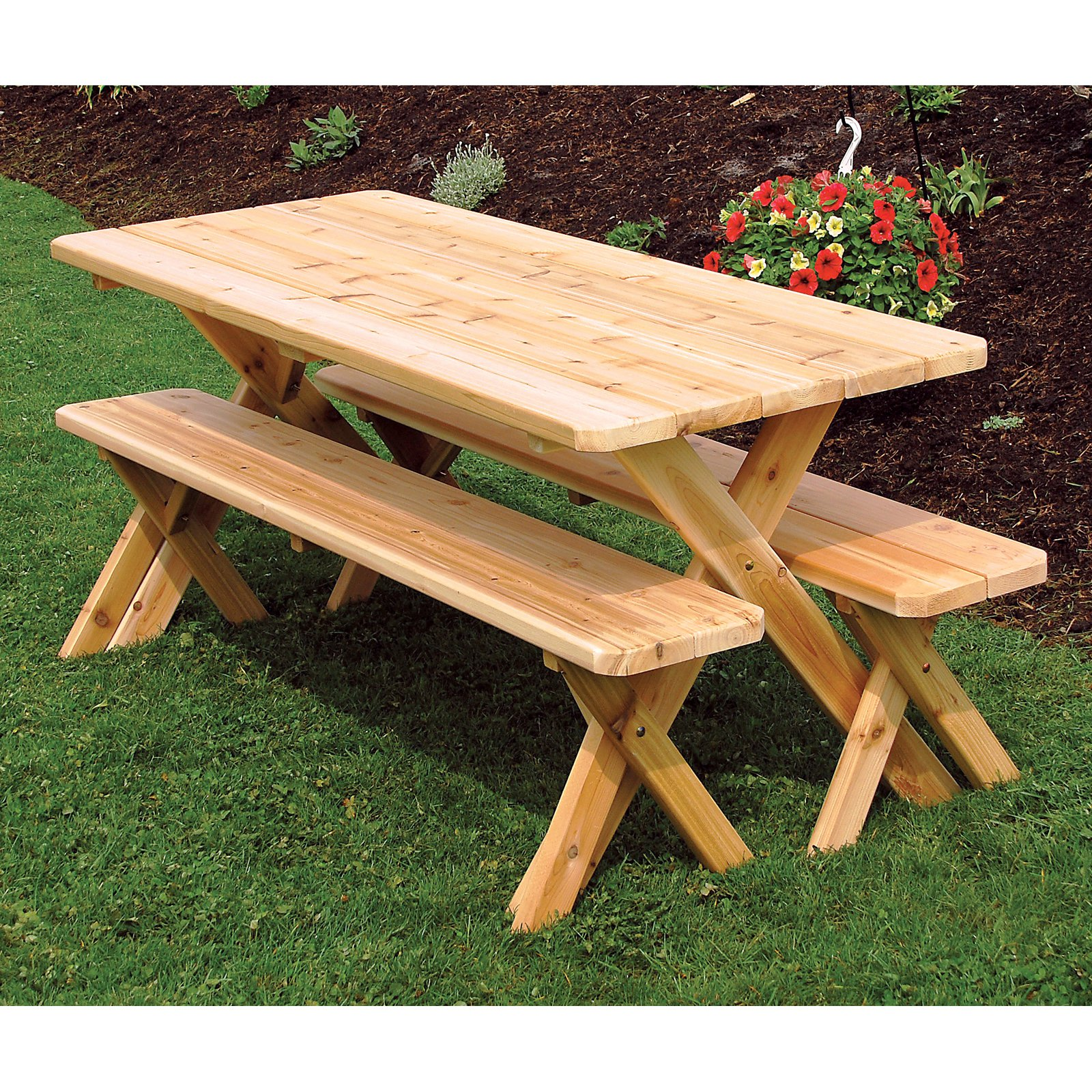 Genial A U0026amp; L Furniture Western Red Cedar Crossleg Picnic Table With 2 Benches    Walmart.com