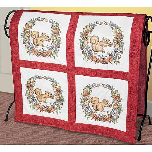 "Autumn Squirrel Quilt Blocks Stamped Cross Stitch, 15"" x 15"" , 6 per package"