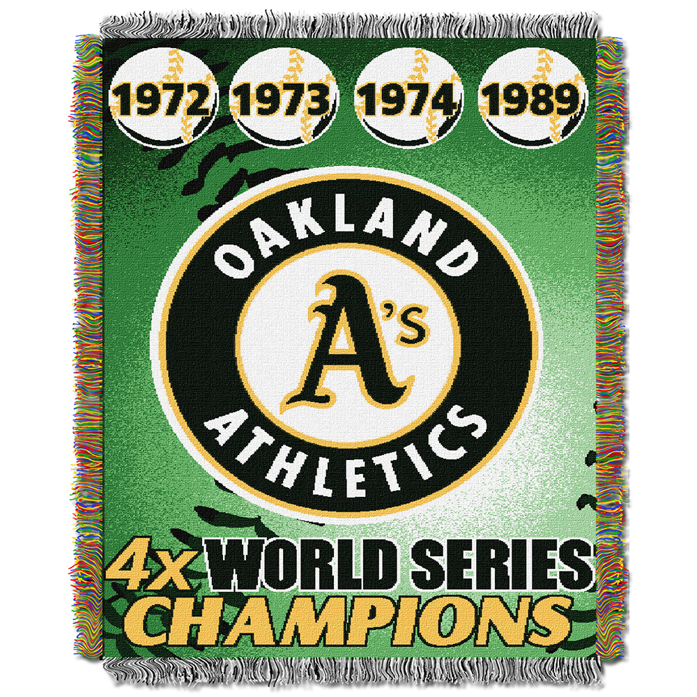 "Oakland A's MLB World Series Commemorative Woven Tapestry Throw (48""x60"")"