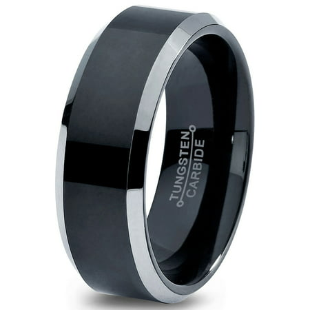 Tungsten Wedding Band - Tungsten Wedding Band Ring 8mm for Men Women Comfort Fit Black Beveled Edge Polished Brushed Lifetime Guarantee