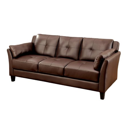 Furniture of America Tonia Tufted Faux Leather Sofa in Brown ()