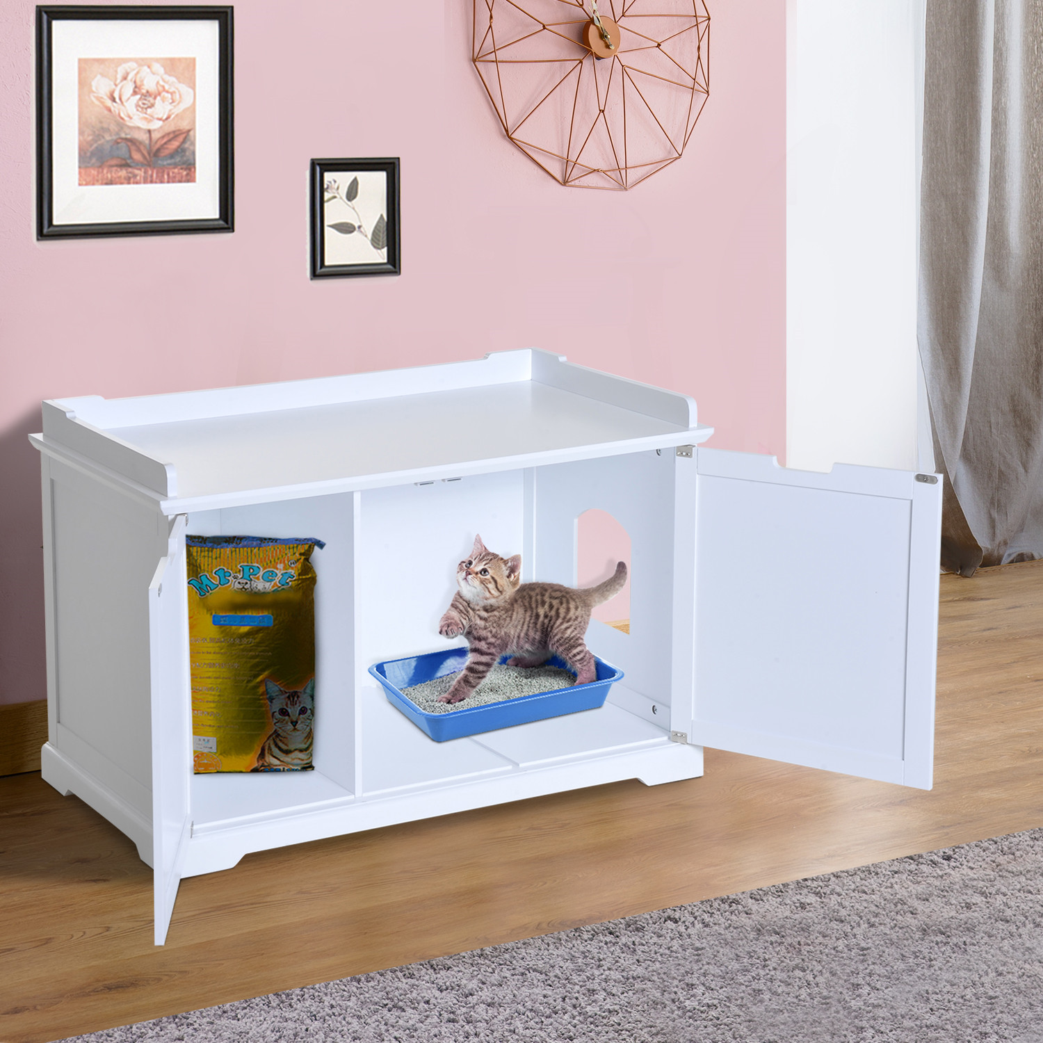 Pet Kitty Hidden Litter Box Enclosure Bench Hall End Table Cat Cabinet