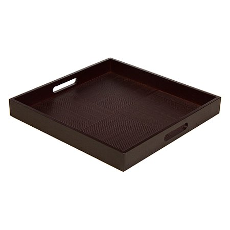 Simply Bamboo 16 X 16 Espresso Brown Bamboo Wood Square Serving Tray - White Plastic Serving Trays