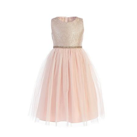 Sweet Kids Little Girls Rose Ornate Brocade Crystal Tulle Christmas Dress