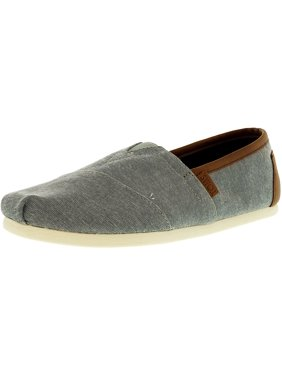 5ef8c9e023b Product Image Toms Men s Classic Chambray Frost Grey Leather Trim  Ankle-High Canvas Flat Shoe - 8M
