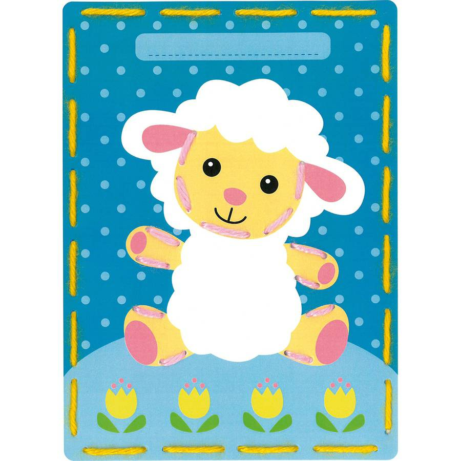 "Kits 4 Kids Lamb and Cow Embroidery Cards Kit, 7.25"" x 10.25"", Set of 2"
