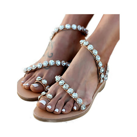 Diamante Sandals (Womens Flat Diamante Sparkly Studded Strap Boho Summer Beach Sandals Shoes)