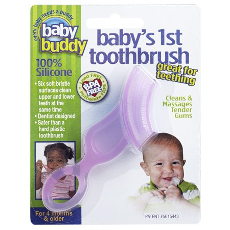 Baby Buddy Baby's 1st Toothbrush Teether-Innovative 6-Stage Oral Care System Grows With Your Child-Stage 4 for Babies/Toddlers-Kids Love Them, Pink