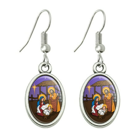 Nativity Scene Baby Jesus Mary Joseph Christmas Christian Bible Novelty Dangling Drop Oval Charm