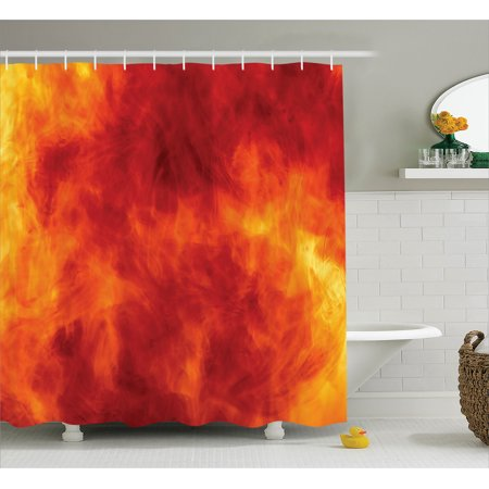 Orange Shower Curtain Set, Graphic of Fire Explosion Bright Vibrant Hot Flames Heat Burning Theme Decor, Bathroom Decor,  Orange Yellow, by Ambesonne