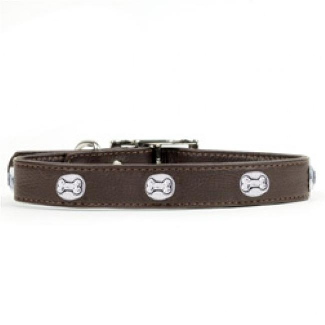 Rockinft Doggie 844587019846 . 75 inch x 14 inch Leather Collar with Heart Rivets - Brown