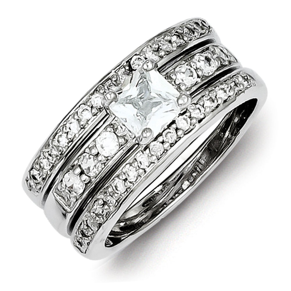 3 piece wedding rings sterling silver cz 3 wedding set ring ring size 6 1095