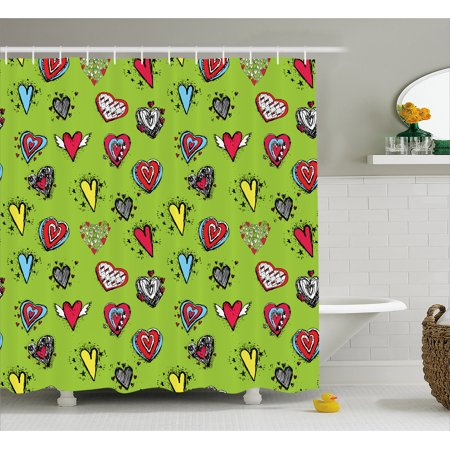 Doodle Shower Curtain, Hand Drawn Set of Hearts Sketch with Various Shapes and Sizes Love Affection, Fabric Bathroom Set with Hooks, 69W X 75L Inches Long, Avocado Green Red, by Ambesonne