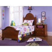 Double Slotted Panel Bed w Nightstand in Cherry Finish (Twin)