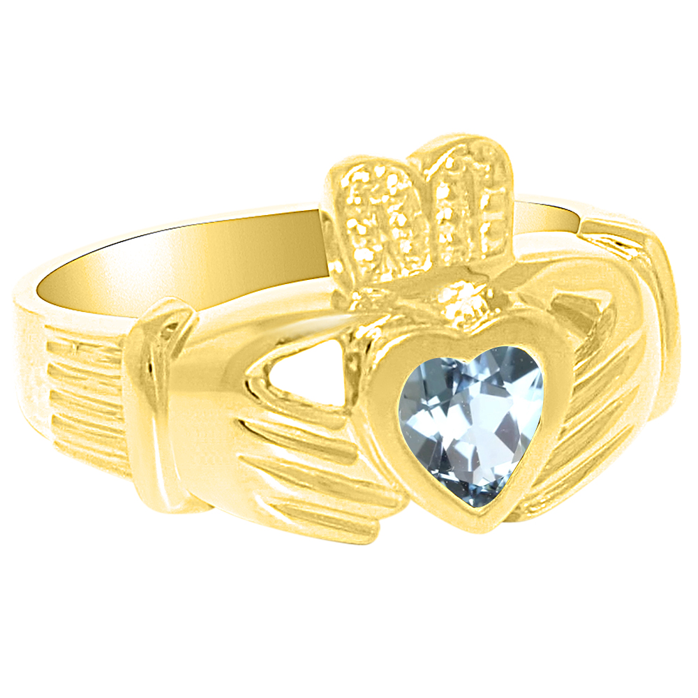 Unisex His or Hers Simulated Aquamarine Claddah Ring Love, Loyalty & Friendship Ring 14K Yellow Gold or 14K White by Elie Int.