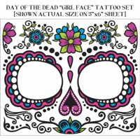 Floral Sugar Skull Dia de Muertos Tattoo for Face