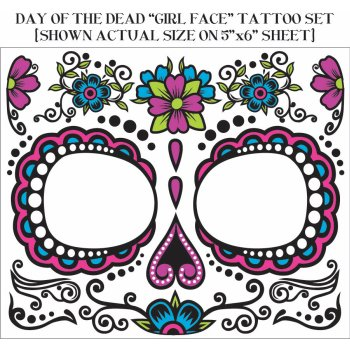 Floral Sugar Skull Dia de Muertos Tattoo for Face (Skeleton Face Tatoo)