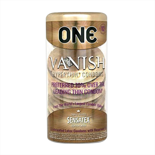 One Vanish Hyperthin Sensatex Softer Latex Condoms, 12 Ea