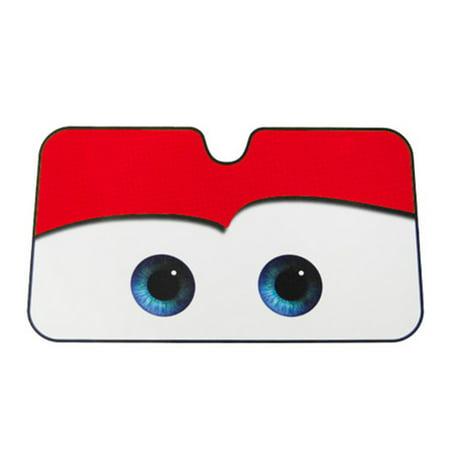 Cartoon Eyes Front Auto Car Windshield Sun shade Sun Visor - Red (Eye Visor Shades)