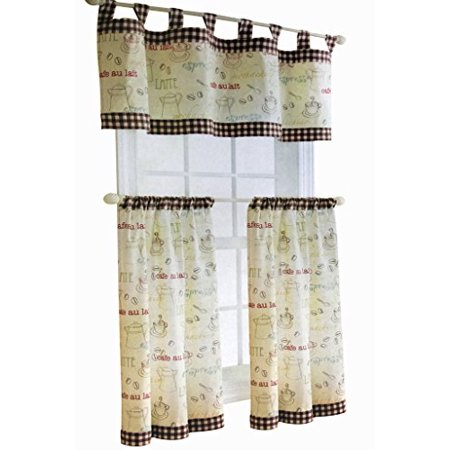 Kitchen Curtain Valance 3 Piece Tap Top Tiers & Valance Set Café  Tiers(30inX36in), Valance(60inX16in)