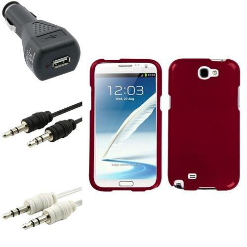 Insten Solid Red Hard Case+Charger+2x Audio Cable For Samsung Galaxy Note 2 II