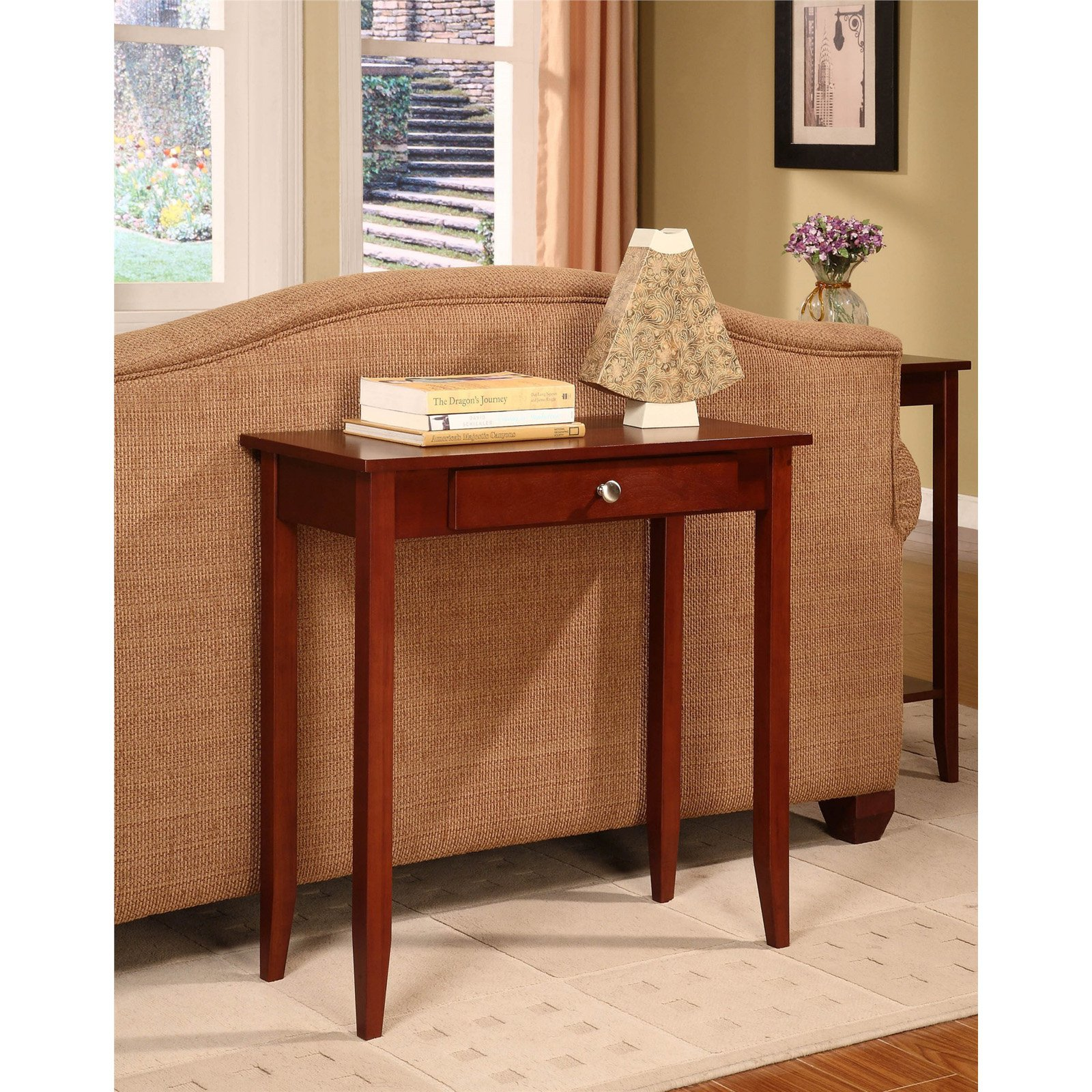 DHP Rosewood Tall Small Space Console Table, Coffee Brown